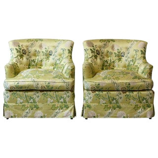 Pair of Lounge Chairs in Yellow Floral Chintz from ABC For Sale