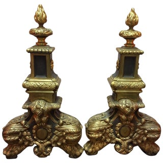 Pair of English Brass Black Andirons With Flame Finials, 19th Century For Sale