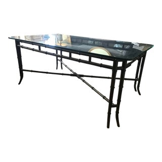 Faux Bamboo Rectangular Dining Table With Glass Top For Sale
