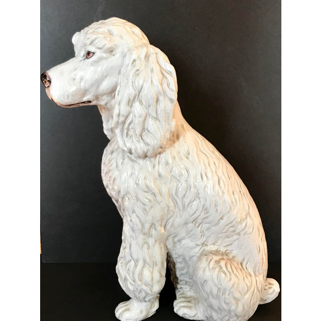 Mid 20th Century Vintage Italian Mid-Century Ceramic Poodle Figurine For Sale - Image 5 of 9