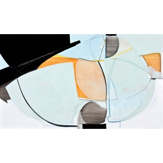 Two Aloof by Rose Umerlik, Abstract Painting, Oil and Graphite on Panel, Orange, Black, Blue For Sale