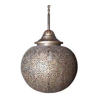 Large Brass Engarved Chandelier For Sale