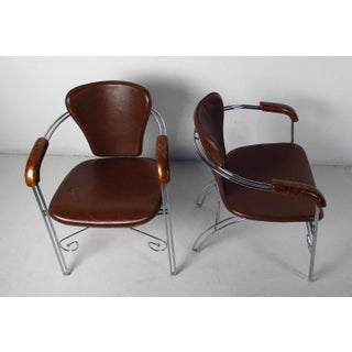 Mid-Century Modern Leather and Chrome Chairs Preview