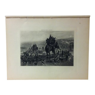 """Antique Photogravure on Paper, """"Hannibal Crossing the Rhone"""" by Henry Paul Motte - Circa 1860 For Sale"""