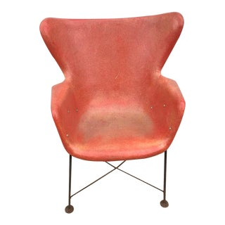 Lawrence Peabody for Selig Mid-Century Fiberglass Wing Chair For Sale