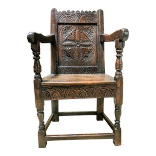 17th Century Charles I Oak Wainscot Chair For Sale