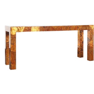 1970s Brutalist Copper Patchwork Console Table For Sale