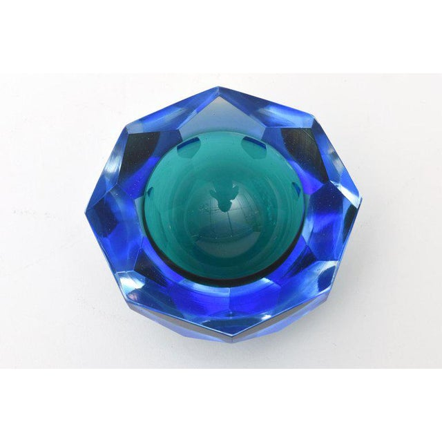 Blue Italian Murano Diamond Faceted Sommerso Geode Glass Bowl For Sale - Image 8 of 11