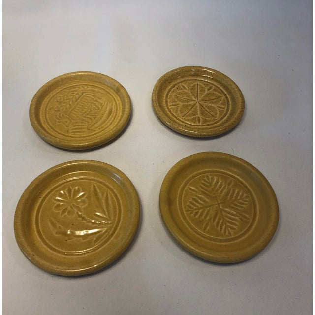 Pigeon Forge Pottery Yellow Coasters-Ashtrays Old Buttermold - Set of 4 For Sale - Image 9 of 13