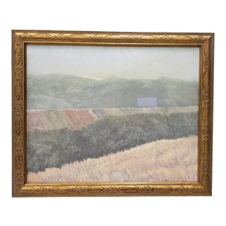"Vintage ""Barn in the Distance"" Oil Painting C.1970s For Sale"