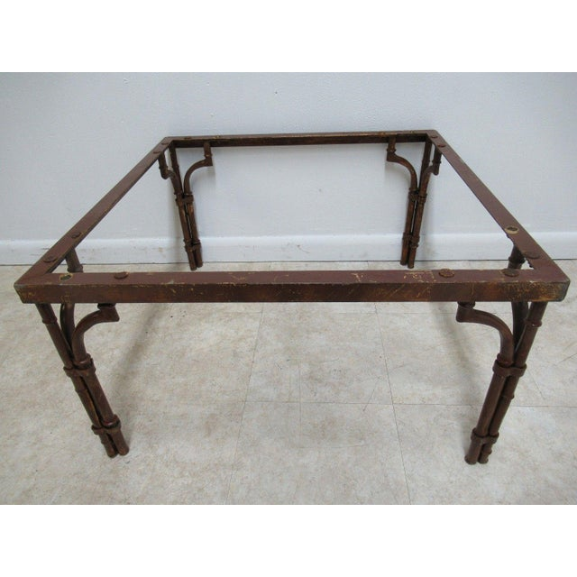Vintage French Regency Faux Bamboo Metal Table Base - Image 4 of 6