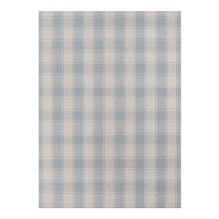 "Erin Gates by Momeni Marlborough Charles Light Blue Hand Woven Wool Area Rug - 3'6"" X 5'6"" For Sale"