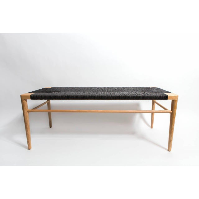 Luxury Solid Ash Frame Bench With Hand Woven Black Rush Seat Decaso