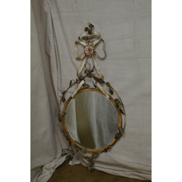 Italian LaBarge Italian Floral Hand Painted Tole Metal Beveled Wall Mirror For Sale - Image 3 of 13