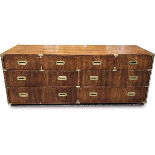 1970s Campaign 7 Drawer Credenza or Dresser by Henredon For Sale - Image 10 of 13