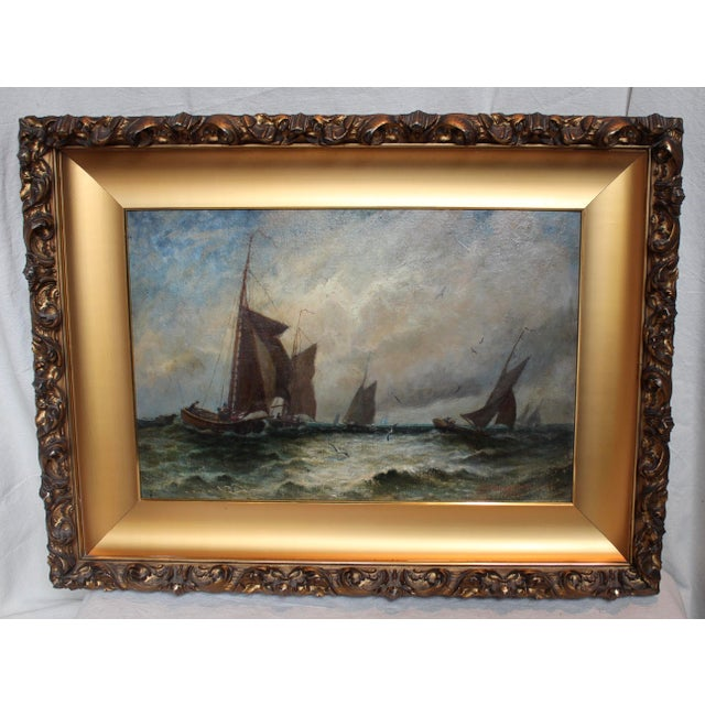"""Vintage """"Ships at Sea"""" Oil Painting by E.J. Packbauer - Image 2 of 7"""