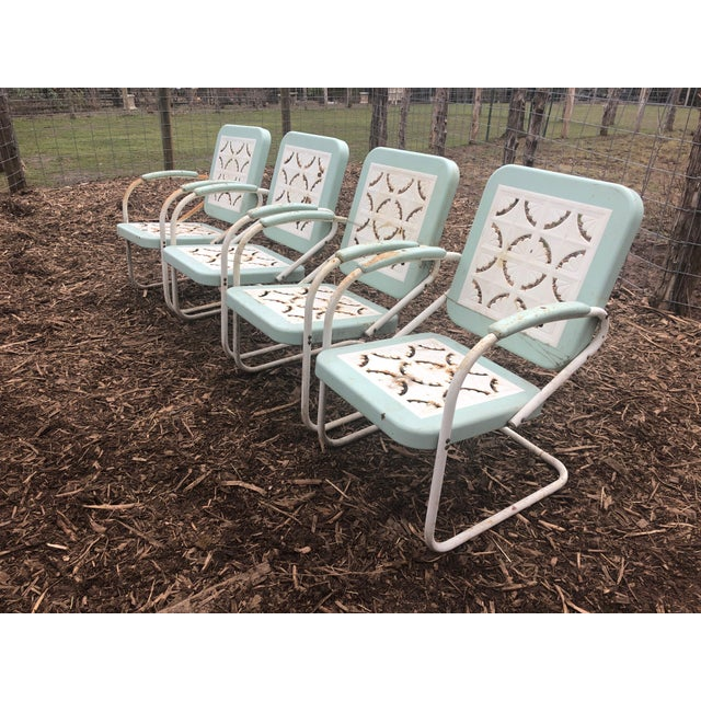 Country Garden Arm Chairs in Light Turquoise and White - Set of 4 For Sale - Image 10 of 12