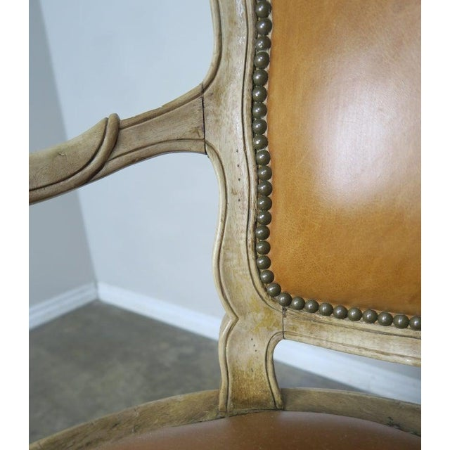 Metal Pair of French Louis XV Style Carved Bleached Walnut and Leather Armchairs For Sale - Image 7 of 9