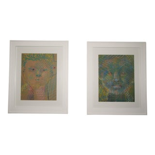 Vintage Abstract Portraits in Pastel, Pair For Sale