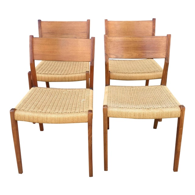 Danish Modern Teak and Rope Chairs - Set of 4 - Image 1 of 9