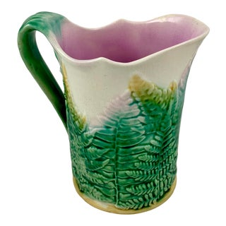 Gs&h Etruscan American Majolica Green and White 8 Inch Fern Pitcher, 1880 For Sale