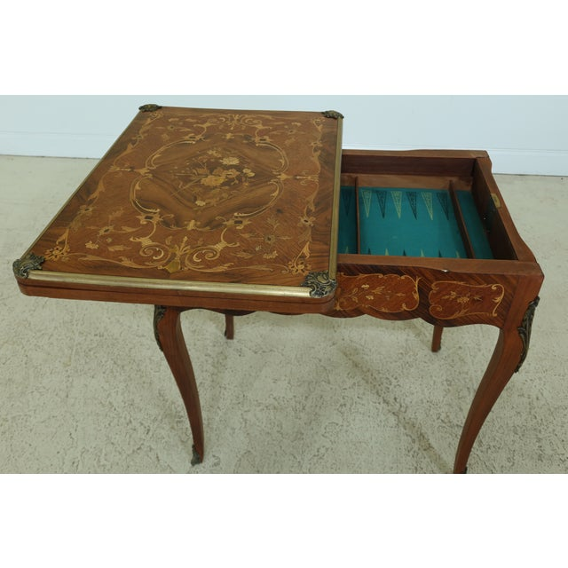 Vintage 1920s Highly Inlaid French Louis XV Games Table For Sale - Image 9 of 13