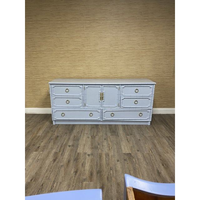 Metal Vintage Drexel Lexington Faux Bamboo Blue Gray Lacquered Credenza For Sale - Image 7 of 7