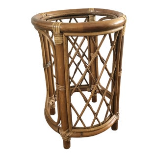 1970s Boho Chic Cross Hatch Bamboo Side Table For Sale