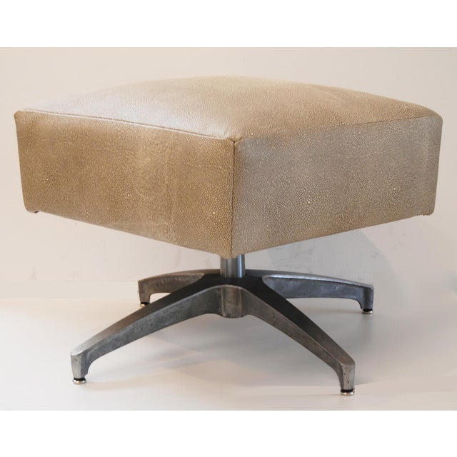 1950s Eames-Style Ottoman in Faux Shagreen For Sale - Image 5 of 5