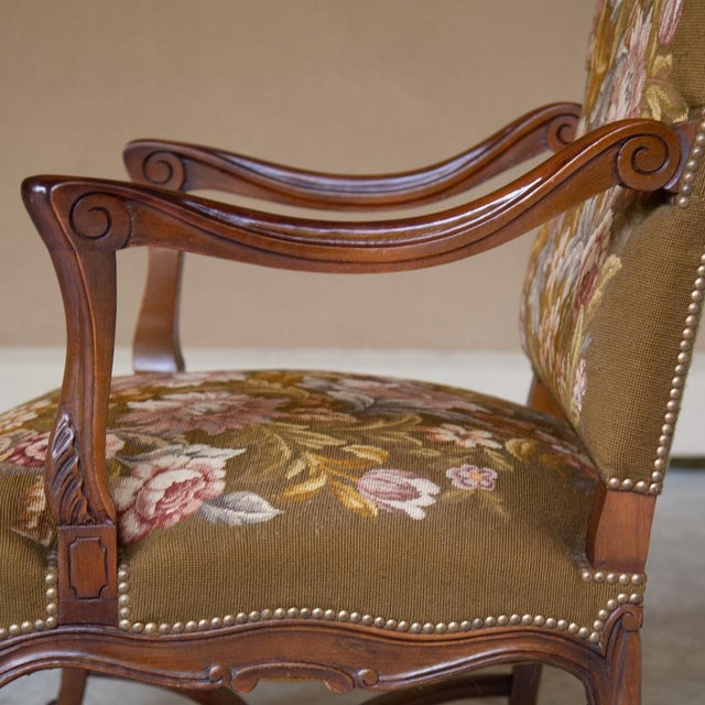 19th Century Antique French Louis XV Original Needlepoint Tapestry Armchair For Sale - Image 9 of 13