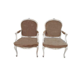 Pair French Velvet Bergeres French Provencal Farmhouse Taupe Armchairs Shabby French Distressed Velvet Fauteuils For Sale