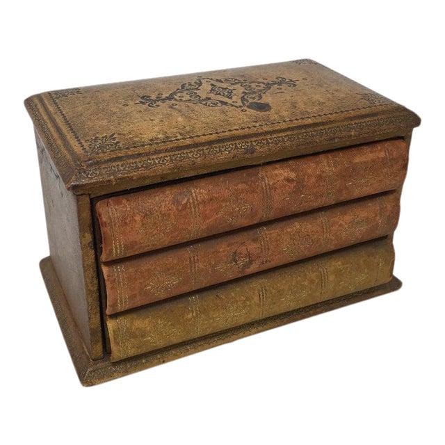 Vintage French Book Style Cigarette Box Desk Organizer For Sale