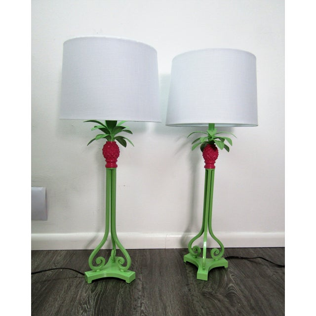 Vintage Metal Pineapple Lamps, restored and reinvented with new Lacquer Paint in Lilly Pulitzer Colors - Bold Pink and...