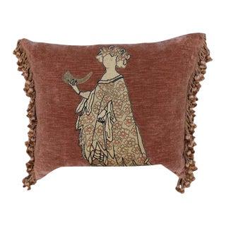 Figural Appliqued Velvet Pillows - A Pair For Sale