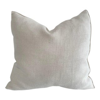 Natural Belgian Linen Accent Pillow Cover For Sale
