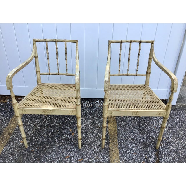 Late 20th Century Faux Bamboo Chippendale Style Armchairs - a Pair For Sale - Image 5 of 13