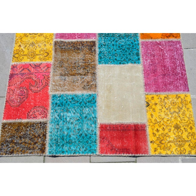 Turkish Handmade Patchwork Rug - 4′7″ × 5′9″ For Sale - Image 6 of 8
