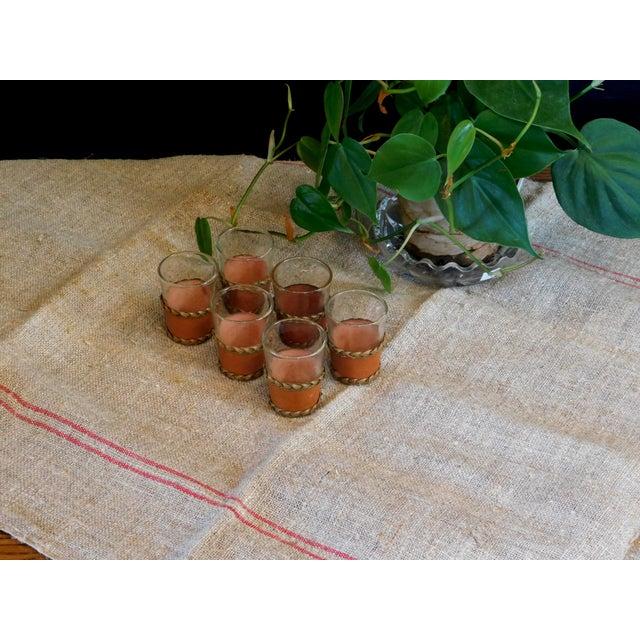 1960s Leather Trimmed Shot Glasses - Set of 6 For Sale - Image 5 of 7