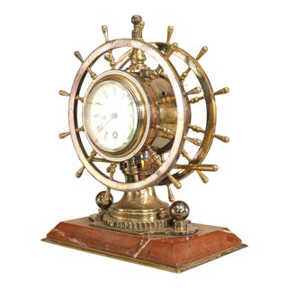 English Victorian Bronze Ship-Wheel Clock For Sale