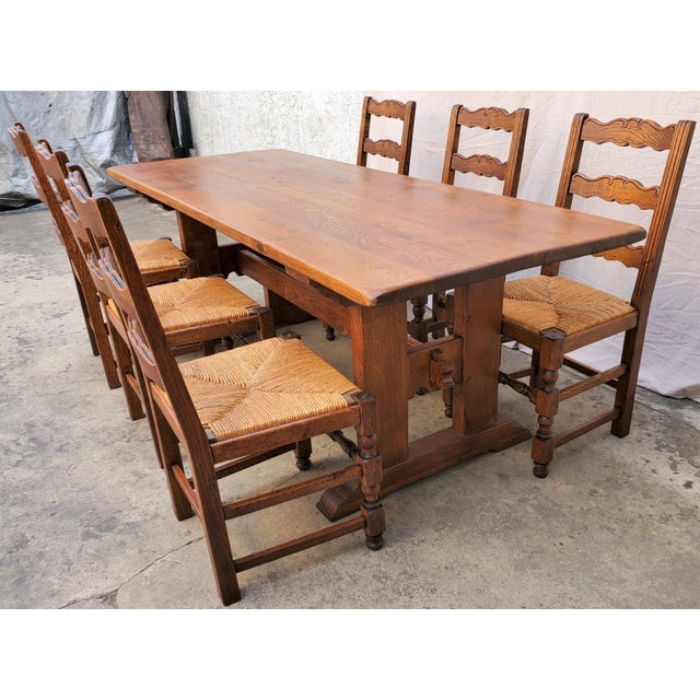 Antique Plank Solid Oak Refectory Dining Table With Set of 6 Ladderback Chairs - 7 Pieces For Sale - Image 13 of 13