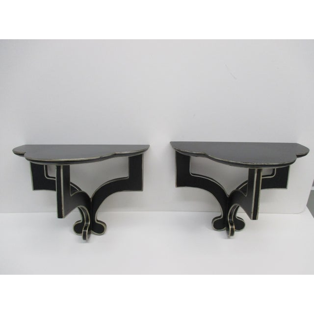 Vintage Pair of Wall Deco Brackets in Black and White Geometric shapes Size: 12 x 10 x 7.5