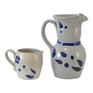 Blue Handcrafted Vessels - A Pair For Sale