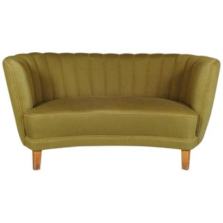 Danish Green Banana Form Sofa For Sale