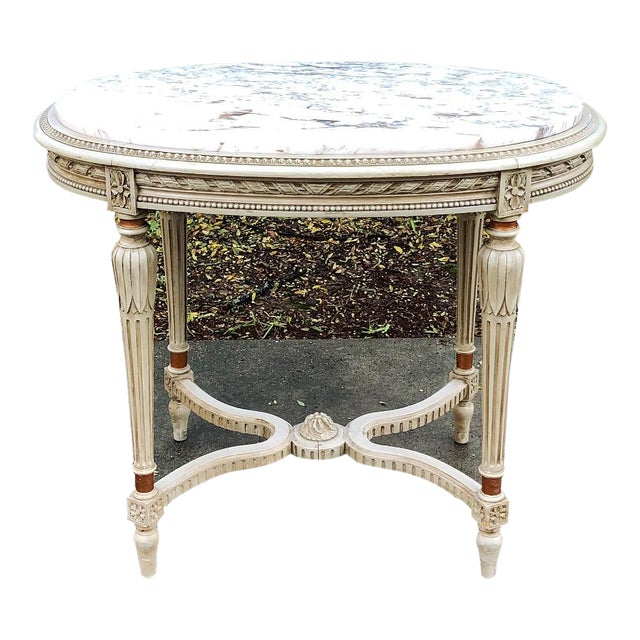 19th Century French Louis XVI Marble Top Oval End Table For Sale