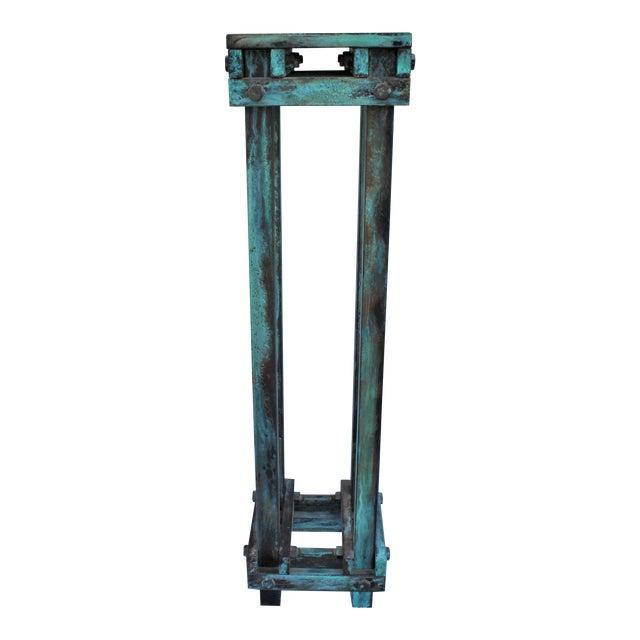 Art Deco Mid-Century Design Antiqued Green Finish Steel Pedestal For Sale