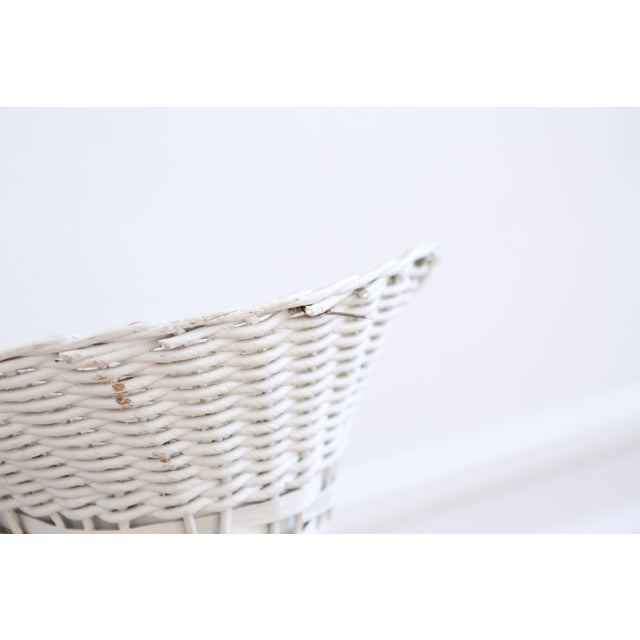White Vintage White Wicker Basket Planter Stands - A Pair For Sale - Image 8 of 8