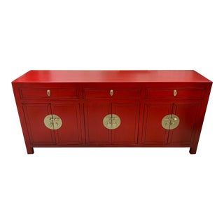 19th Century Vintage Qing Dynasty Ruby Red Sideboard For Sale