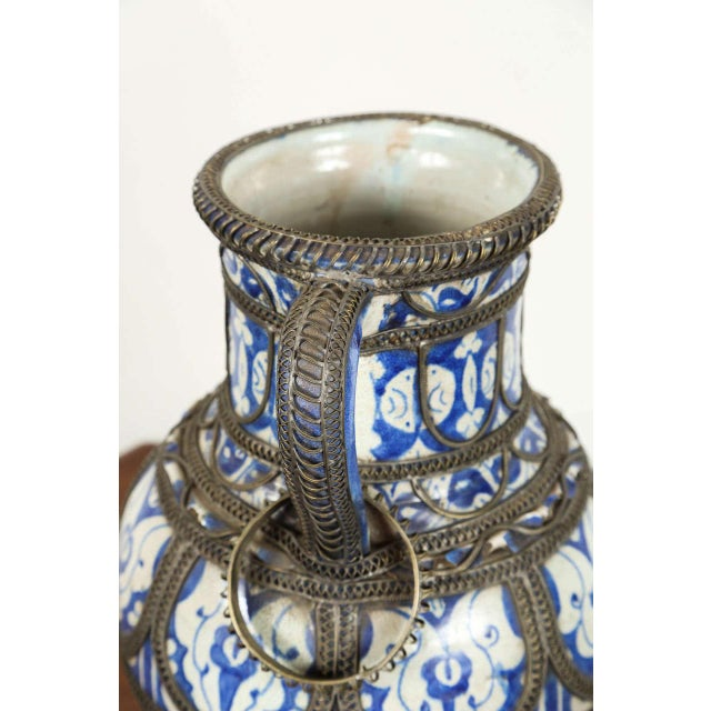 Antique Moroccan Ceramic Vase From Fez For Sale In Los Angeles - Image 6 of 9