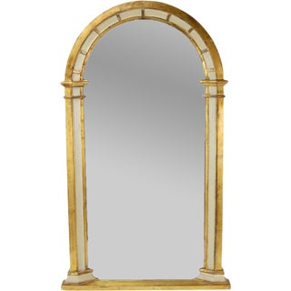 Vintage Giltwood Panel Arched Wall Mirror For Sale