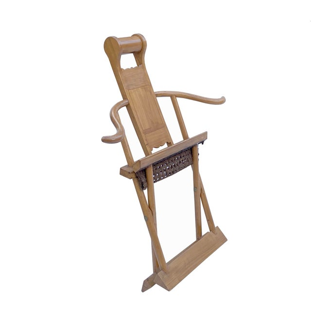 1960s Chinese Elm Wood Wool Seat Wide Arm Folding Armchair For Sale - Image 5 of 8